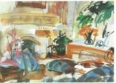 大陸一級美術家朱小芬畫作收藏頁:室內小景0010(水粉畫)朱小芬.jpg