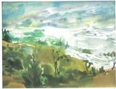 大陸一級美術家朱小芬畫作收藏頁:水色雲梯(水彩畫)朱小芬.jpg