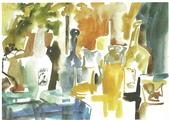 大陸一級美術家朱小芬畫作收藏頁:餐桌上的舞蹈02(水采畫)朱小芬.jpg