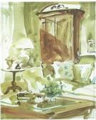 大陸一級美術家朱小芬畫作收藏頁:室內小景之三(水彩畫)朱小芬.jpg