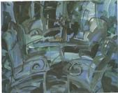 大陸一級美術家朱小芬畫作收藏頁:休閒小景023(水粉畫)朱小芬.jpg