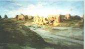 關庄健,我又找了一位畫家的畫作來讓大家欣賞:荒漠舊城(丙烯畫)關庄鍵.jpg