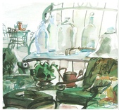 大陸一級美術家朱小芬畫作收藏頁:庭院一偶(水粉畫)朱小芬.jpg