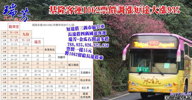1060222基隆客運1062票價調漲短途大漲93%.jpg - 瑞芳交通政策